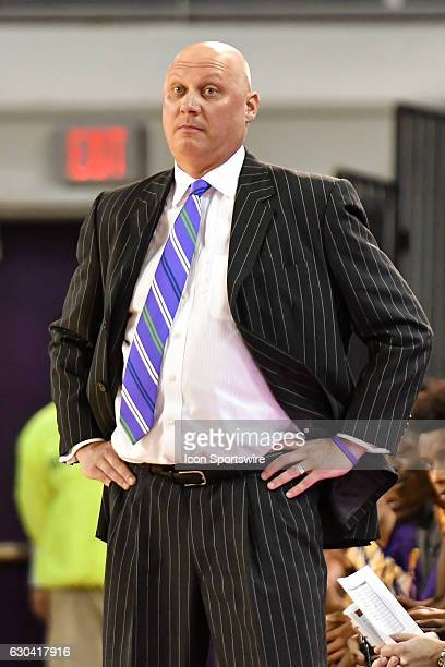 East Carolina Pirates head coach Jeff Lebo stares at his players in a NCAA Basketball game between the East Carolina Pirates and the Charleston...