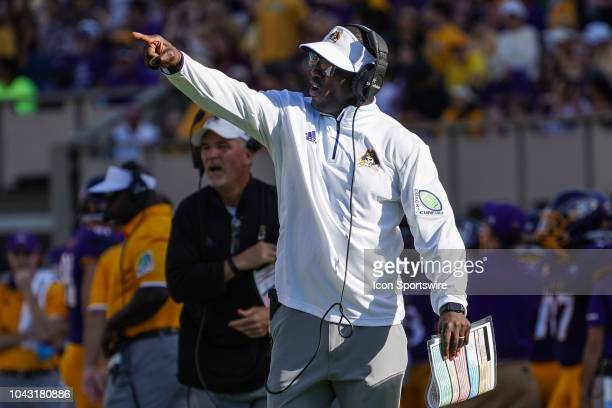 East Carolina Pirates head coach Scottie Montgomery calls a play during a game between the Old Dominion Monarchs and the East Carolina Pirates at...