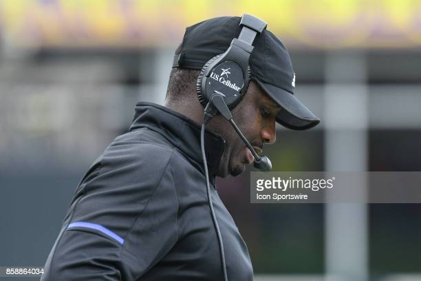 East Carolina Pirates head coach Scottie Montgomery looks down during a game between the Temple Owls and the East Carolina Pirates at DowdyFicklen...