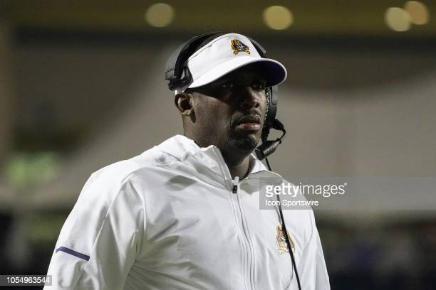 East Carolina Pirates head coach Scottie Montgomery watches play during a game between the UCF Knights and the East Carolina Pirates at DowdyFicklen...