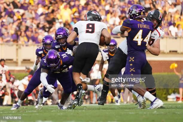 East Carolina Pirates linebacker Bruce Bivens sacks GardnerWebb Runnin Bulldogs quarterback Jordan Smith during a game between the East Carolina...