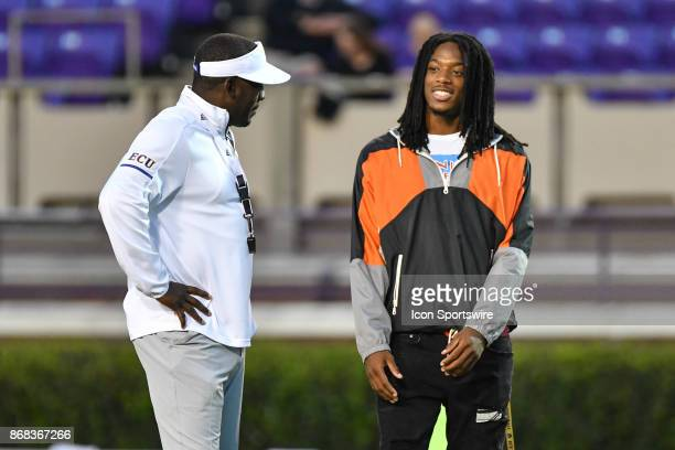 East Carolina Pirates linebacker commit Gerard Stringer meets with East Carolina Pirates head coach Scottie Montgomery during a game between the BYU...