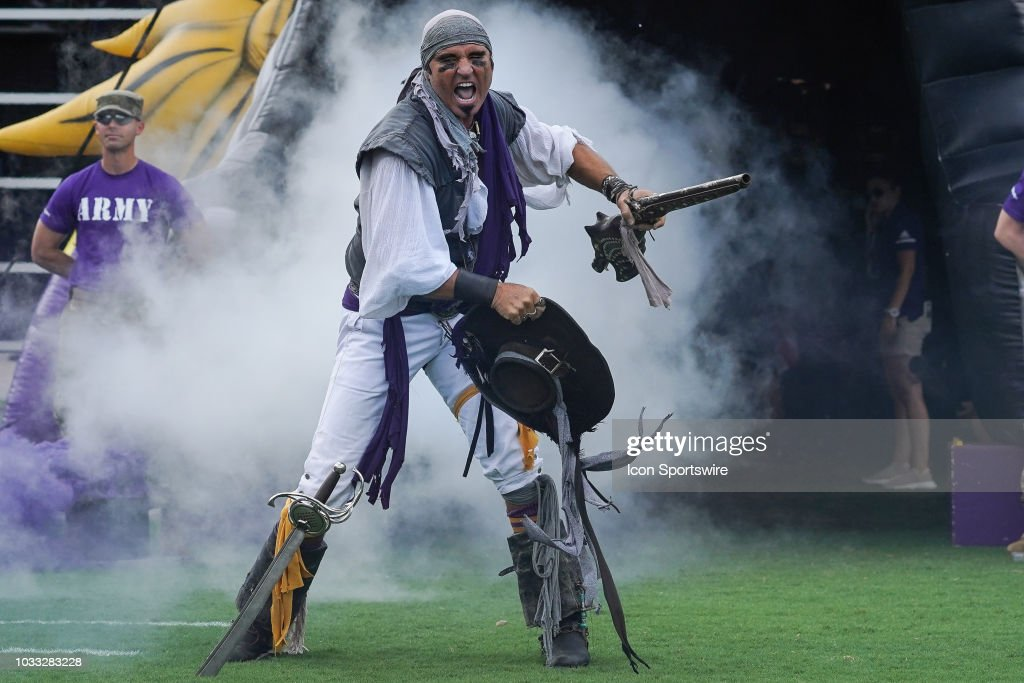 east carolina pirates mascot steve the pirate whetzel leads the