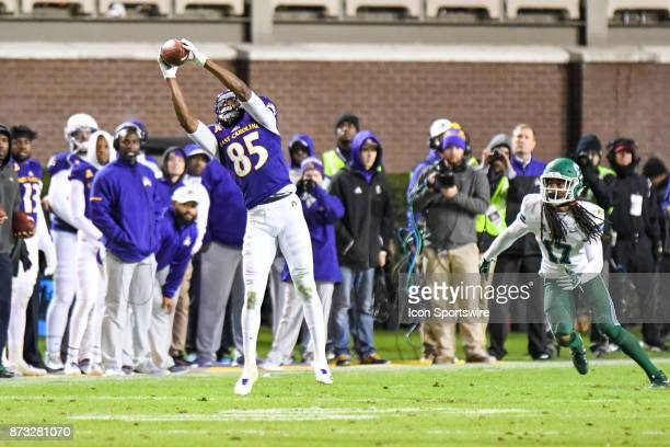 East Carolina Pirates wide receiver Davon Grayson catches the pass during a college football game between the Tulane Green Wave and the East Carolina...