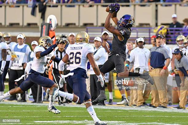 East Carolina Pirates wide receiver Zay Jones catches the 388th pass of his career making him the NCAA leader in receptions during an NCAA football...