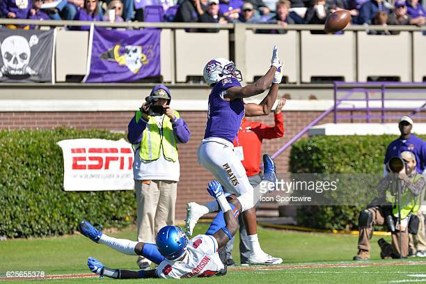 East Carolina Pirates wide receiver Zay Jones is called for offensive pass interference before making a catch over Southern Methodist Mustangs...