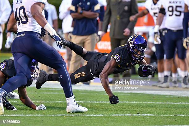 East Carolina Pirates wide receiver Zay Jones is tackled during an NCAA football game between the East Carolina Pirates and the Navy Midshipmen on...