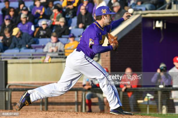 East Carolina pitcher Jacob Wolfe pitches in a game between the St Johns Red Storm and the East Carolina Pirates during the Keith LeClair Classic on...