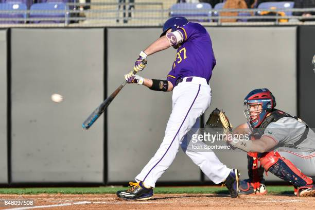 East Carolina pitcher Luke Bolka gets a hit in a game between the St Johns Red Storm and the East Carolina Pirates during the Keith LeClair Classic...