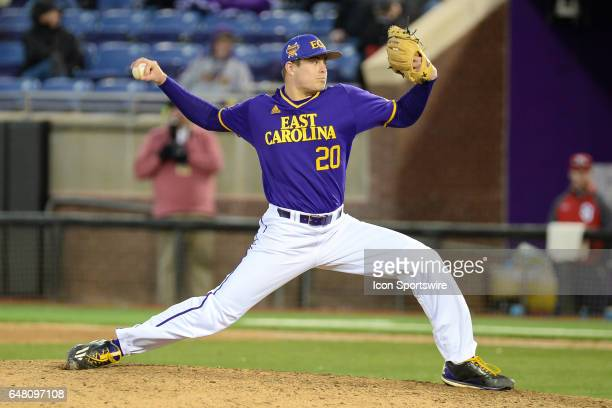 East Carolina pitcher Tyler Smith pitches in a game between the St Johns Red Storm and the East Carolina Pirates during the Keith LeClair Classic on...