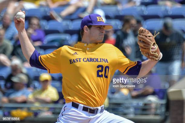 East Carolina pitcher Tyler Smith throws a pitch during a game between the Houston Cougars and the East Carolina Pirates at Lewis Field at Clark...