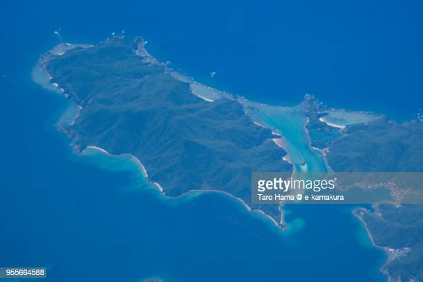 East China Sea and Ukenson in Kagoshima prefecture in Japan daytime aerial view from airplane