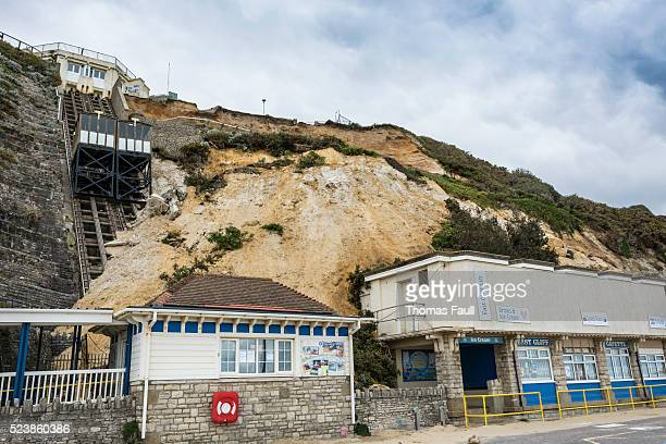 east cliff collapse in bournemouth - collapsing stock pictures, royalty-free photos & images