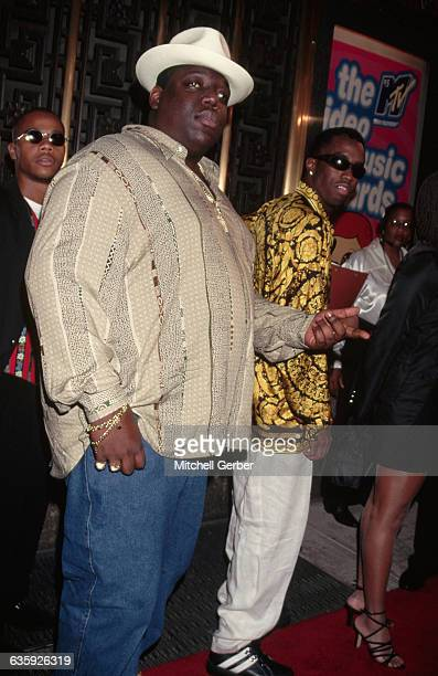 East Coast gangsta rapper Chris Wallace known as The Notorious BIG attends the MTV Video Music Awards with songwriter Sean Puffy Combs