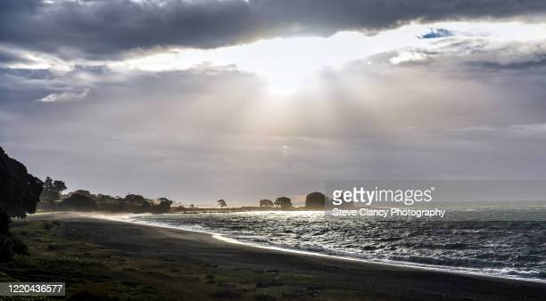 east coast, new zealand. - moody sky stock pictures, royalty-free photos & images