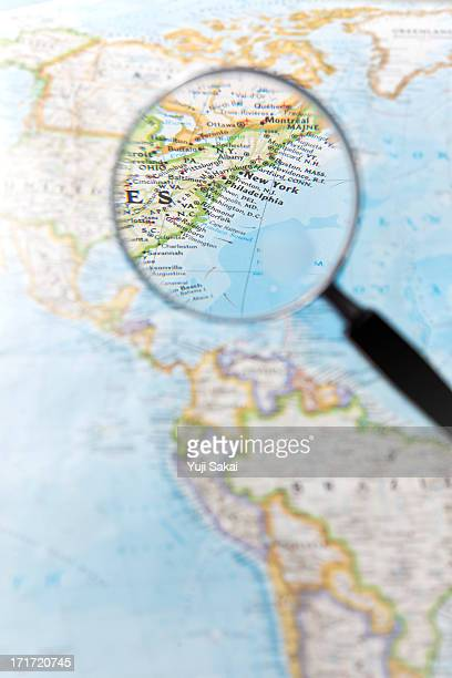 East coast of North   America and  Magnifying glas