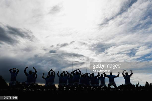 East Coast perform the Haka prior to the round six Heartland Championship match between Mid Canterbury and East Coast on September 29 2018 in...