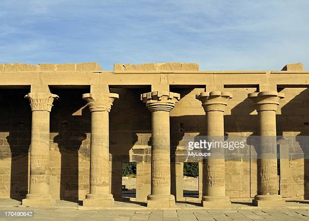 East Collonade at Temple of Isis on Philae Island Lake Nasser near Aswan Egypt