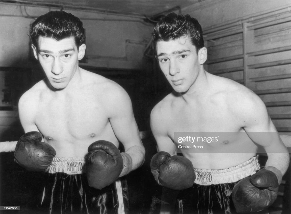 East End gangsters the Kray twins, Ronnie (left) and Reggie, who began their careers in the boxing ring, training at Klein's Gym, London.