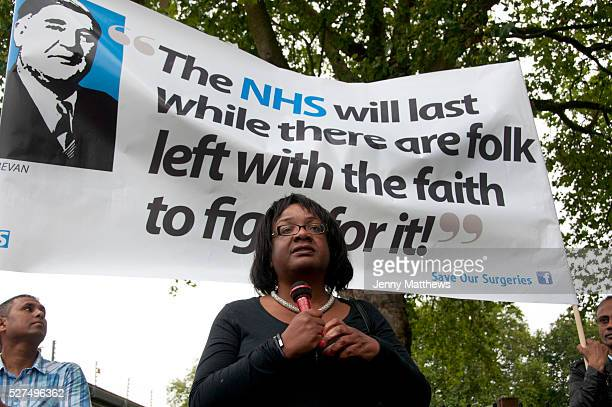 East End London July 5th 2014 Rally and march against proposed cuts to National Health Service doctors' surgeries specifically MPIG brought in to...