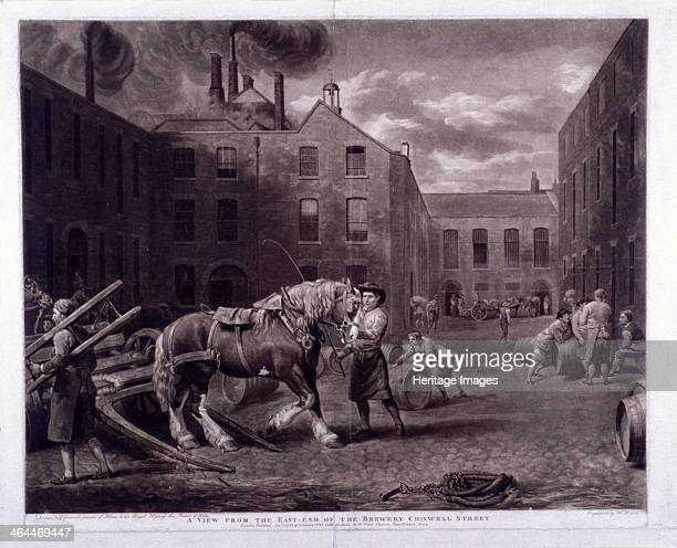 East end of Whitbread's Brewery Chiswell Street Islington London 1792 A man tends to the draught horse while workers push barrels or stop to chat...