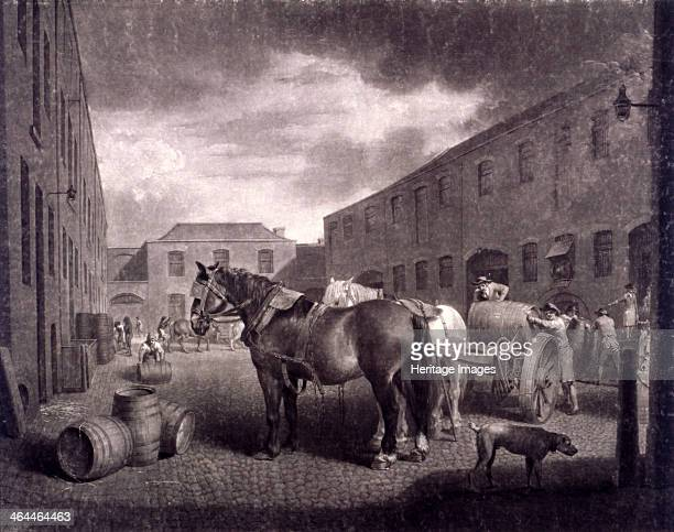 East end of Whitbread's Brewery Chiswell Street Islington London c1792 Scene in the cobbled courtyard of Whitbread's brewery as workers load barrels...