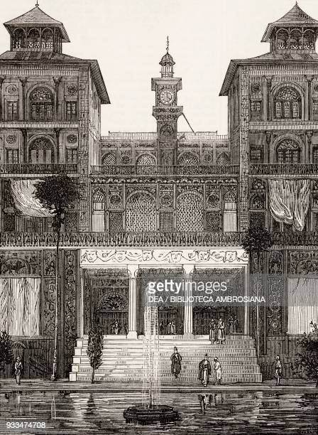 East front of the Golestan Palace, Teheran, Iran, illustration from the magazine The Illustrated London News, volume LXII, June 21, 1873.