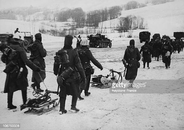 East Front Ussr German Infantry Marching Through Iced Road On 1942 January 7Th