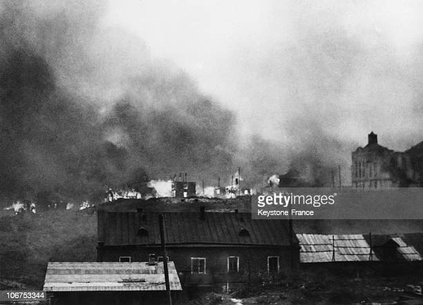 East Front Ussr The Town Of Smolensk In Fire On 1943 October 14Th