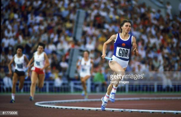 East German athlete Marita Koch wins a silver medal in the women's 4400 metre relay at the Lenin Stadium during the Moscow Summer Olympics July 1980
