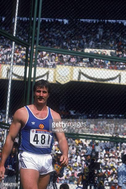 East German discus thrower Jurgen Schult at the Olympic Games in Seoul South Korea 1988 Schult won the gold medal for the event with a throw of 6882...