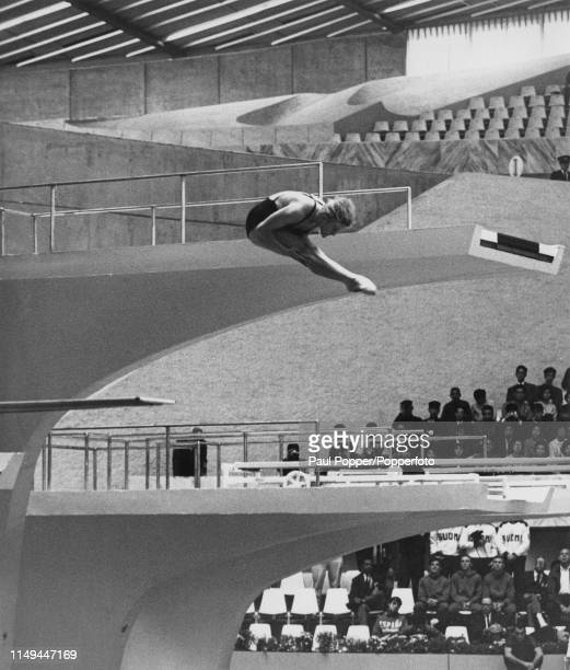 East German diver Ingrid EngelKramer pictured during competition to finish in first place to win the gold medal for Germany in the Women's 3 metre...