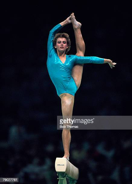 East German gymnast Gabriele Faehnrich pictured in action on the balance beam during competition in the Women's artistic team allaround event at the...