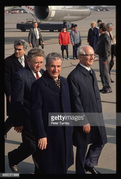 East German Head of State Erich Honecker and Romanian President Nicolae Ceausescu at the East Berlin Airport