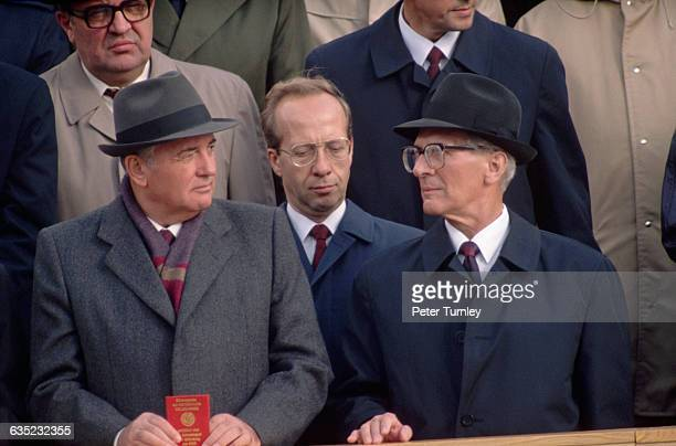 East German Head of State Erich Honecker and Soviet Premier Mikhail Gorbachev with their interpreter