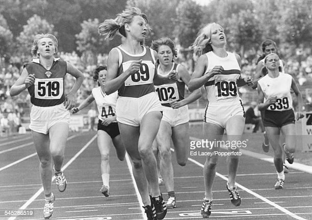 East German middle distance runner Anita Barkusky crosses the finish line ahead of Lesley Kiernan of Great Britain, Nadeshda Zabozhko of the Soviet...