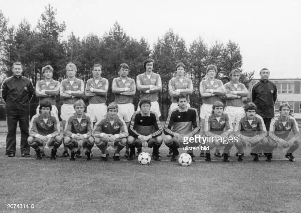 East German National Football Team 1983, back row from left to right coach Klaus Petersdorf, Hans-Juergen Doerner, Matthias Liebers, Frank Baum,...