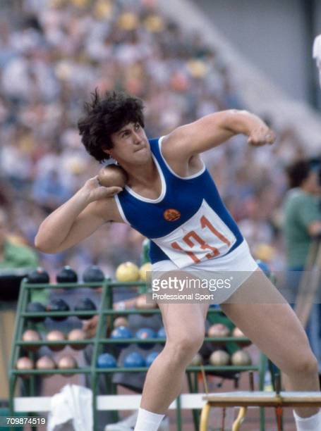 East German shot putter Ines Reichenbach competes for East Germany to finish in 8th place in the Women's shot put event at the 1980 Summer Olympics...