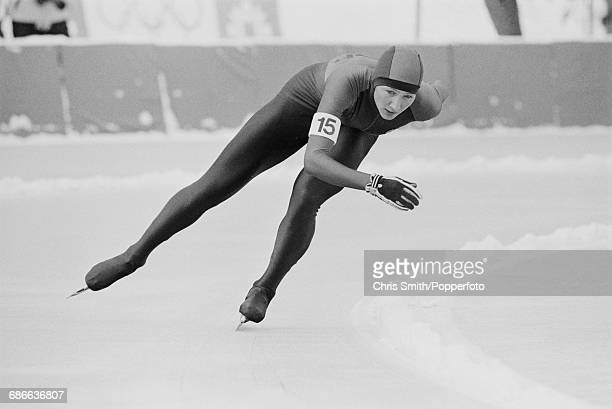 East German speed skater Karin Enke pictured in action during competition to win two gold medals and two silver medals on the Zetra Ice Rink at the...