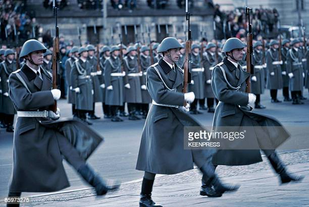 East German troops parading at the Memorial to the Victims of Fascism and Militarism at the Neue Wache in East Berlin circa 1981
