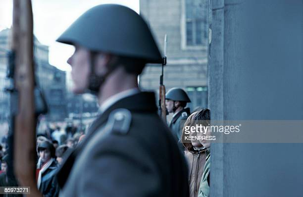 East German troops stand guard at the Memorial to the Victims of Fascism and Militarism at the Neue Wache in East Berlin circa 1981