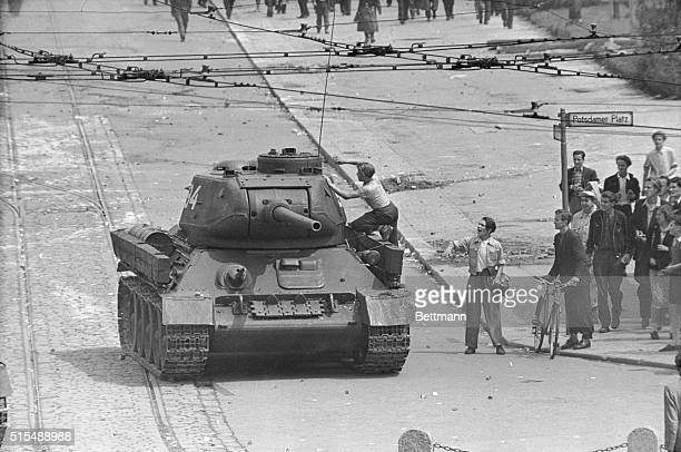 East Germans Confront Soviet Tanks