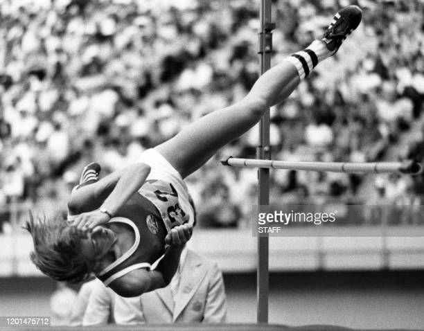 East Germany athlete Rosemarie Ackermann jumps during the high jump event at the 1976 Summer Olympics July 29 1976 in Montreal Rosemarie Ackermann...