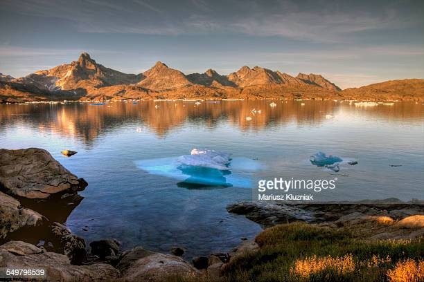 East Greenland summer sunset floating ice