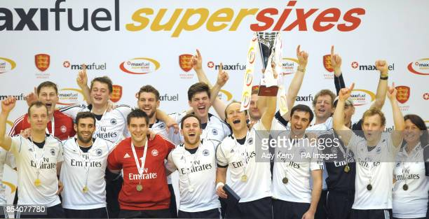East Grinstead celebrate winning against Reading during the Maxifuel Super Sixes Finals at Wembley Arena London