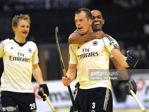East Grinstead's Mark Pearn celebrates scoring against Reading during the Maxifuel Super Sixes Finals at Wembley Arena London