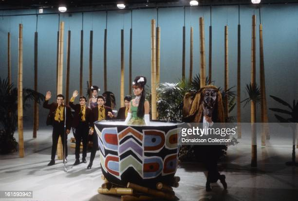 East LA group Cannibal and The Headhunters perform on the NBC TV music show 'Hullabaloo' in March 1965 in New York City New York