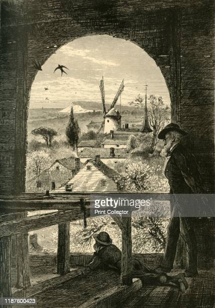 East Hampton from the Church Belfry' 1872 View of Hook Windmill built in 1806 in the town of East Hampton New York State USA From Picturesque America...
