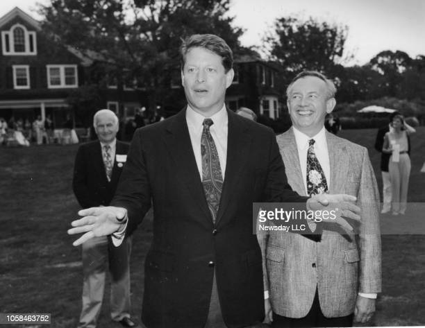 Vice President Al Gore makes an appearance with congressman George Hochbrueckner at a fundraiser at the East Hampton New York home of Chris Whittle...