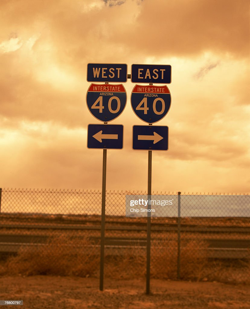 East I40 and west I40 interstate road signs : Stock Photo